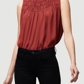 FRAME | Smocked Sleeveless Blouse - Burnt Henna