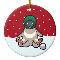Christmas Penguins in Woolly Winter Knits Cartoon Ceramic Ornament