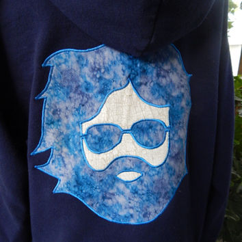 Mens Upcycled Zip Up Hoodie Navy Blue Grateful Dead Jerry OOAK Size M Hippie clothes, hoodie, recycled hoodie, zip up hoodie, guys hoodie