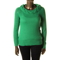 John Paul Richard Womens Ribbed Knit Braided Pullover Sweater