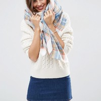 ASOS Oversized Square Scarf In Natural Check