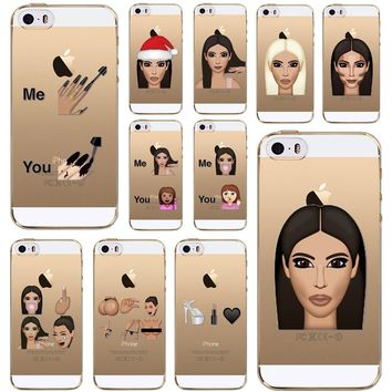 Funny Soft Clear Kim Kardashian Crying Face Emoji Case For iPhone 5 5s SE Ultra thin Kimoji TPU Mobile Phone Shell