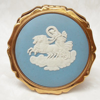Powder Compact, Stratton Powder Compact, Wedgwood Compact, Mirror Compact, Compact Mirror, Blue, White, Queen Compact - 1960s / 1970s