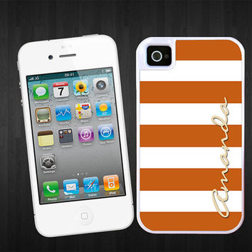 Autumn Personalized iPhone 5 case - Wide stripes Beach stripes - monogram Iphone 4 cover plastic silicone iphone 5 protective your name
