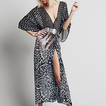 Lotta Stensson Womens Animal Print Maxi Kaftan - Black Feather One