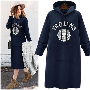 Plus Size Hoodies Sweatshirt Dress