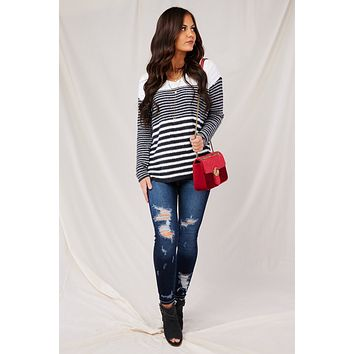 Fall To Pieces Striped Sweater (Ivory/Charcoal)