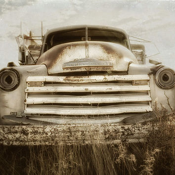 Landscape Photography, Field Relic, Chevrolet Truck, Farm Decor, Sepia Photograph, Rustic Wall Art, Man Cave, Field  | 'End Of The Road'