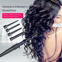 Pro 09-32mm 5 size Hair Curling Iron with Glove Cylindrical 5 Curling Irons Wand 5P Ceramic Perm Hair Curler Wand Rollers A3940