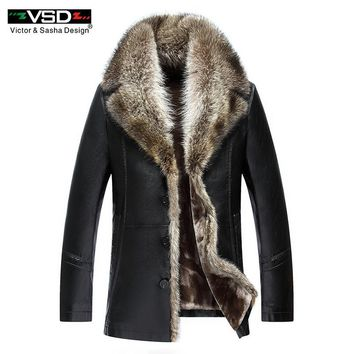Winter Faux Leather Men Jacket Leisure Leather Business Men Warm Thick Coats Long Style Leather Jackets And Coat