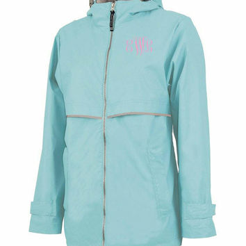 Two week SALE ONLY. Monogrammed Charles River Rain Jacket. Perfect gift. Regular price: 59.95