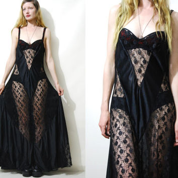 Vintage BLACK LACE Slip Dress Long Maxi SHEER 70s - 80s vtg Lingerie Negligee bohemian Goth Hippie Gypsy Boho Witch 1970s 1980 M
