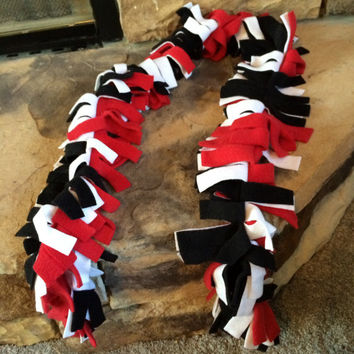 Red White & Black Fringed Fleece Scarf School Spirit Louisville Miami Texas Tech Georgia Atlanta Falcons Cincinnati Arizona Cardinals