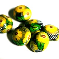 Yellow Flower Lentil Beads for Jewelry Making, Set of 6 Polymer Clay Beads for Sale, Jewelry Supplies