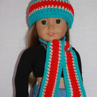 crochet beanie hat, long stripe scarf blue, red, ivory,  18 inch doll clothes, American girl, Maplelea, journey girl, Newberry