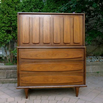WALNUT mid century Modern DRESSER highboy