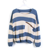 Blue White Striped Pocket Bat Long Sleeve Sweater  from Showmall