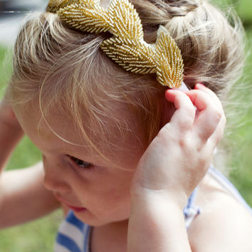 Leaf crown, boho goddess head piece, Grecian-inspired head piece, gold leaf crown, First Communion Hair Piece, wedding headband