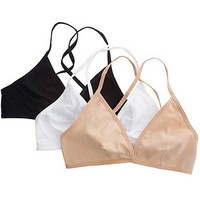 Cotton Spandex Jersey Cross-Back Bra (3-Pack)