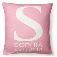 Monogram 16x16 Cotton-Blend Pillow, Pink, Decorative Pillows