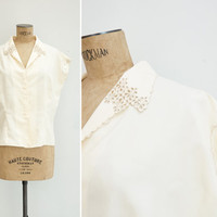 1950s Blouse - Vintage Cream Silk Cut Work Blouse - Petalo Blouse