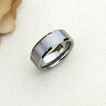 Personalized Name Ring Custom Engraving 8mm Tungsten Comfort Fit Wedding Band Grooved Pattern Beveled Band - CZRTN446