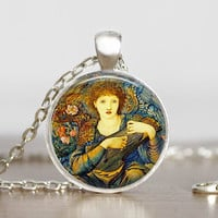 Pre-Raphaelites Angel Necklace Edward Burne Jones Glass Tile Pendant Art Necklace