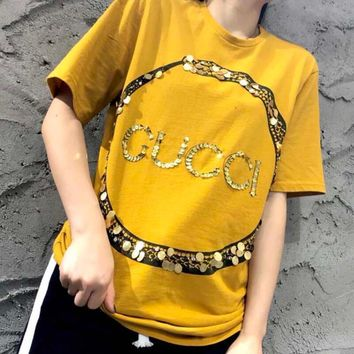 GUCCI Trending Women Men Loose Circle Ring Snake Letter Sequin Short Sleeve T-Shirt Blouse Yellow