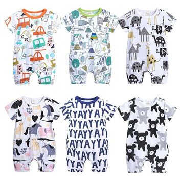 2019 Baby Onesuits Summer Cotton Romper Boys Girls 0-24 Months Kids Clothes Knitted Cartoon Short-sleeved Jumpsuit Outfits