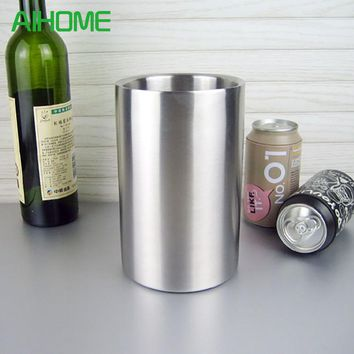 Good Quality Stainless Steel Ice Bucket Wine Cooler Whisky Wort Chiller With Hot Barware Champagne Buckets Free Shipping