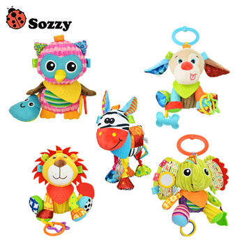 Sozzy Baby Animals Buddies Placate Activity Stuffed Plush Lion Dog Owl Elephant Teether Toy 20cm Multicolor Multifunction