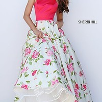 Halter Floral Print Long Ball Gown by Sherri Hill