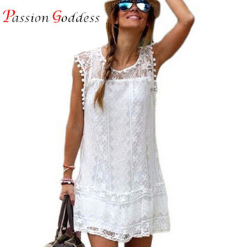 New Plus Size Women 2016 Summer Sexy White Lace Dress O neck Sleeveless Hollow Out Short Mini Casual A-line Beach Dress Vestidos