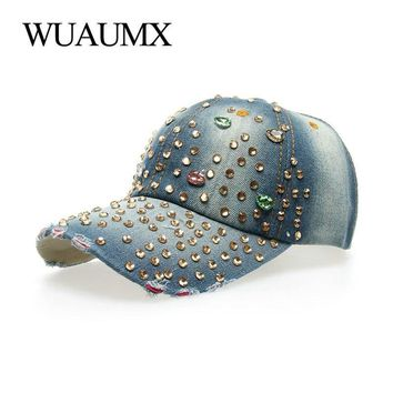 Trendy Winter Jacket Wuaumx  Baseball Caps For Women With Rhinestone Bling Beauty Girl Snapback Cap For Female Denim Crystal Hats 7 Colors AT_92_12