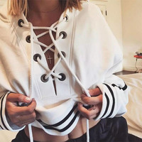 Fashion Women Hoodies Striped Loose Casual Sweater