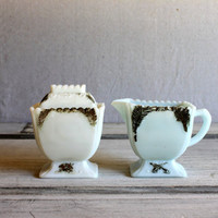 ANTIQUE VICTORIAN milk glass cream and sugar set with gold decoration