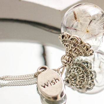 925 Sterling silver Necklace with real dandelion seeds, charm 'wish' or 'desired letter' , Jewelry Glass Globe Pendant,  blown ball,