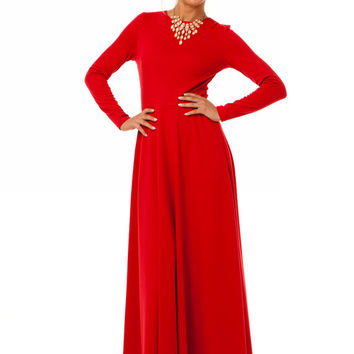 Red Maxi Dress , Long Sleeve Dress, Jersey Dress for Fall, Wedding Party ,Dress Day.