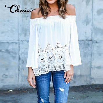Boho Off Shoulder Long Sleeve Lace Embroidery Casual Top