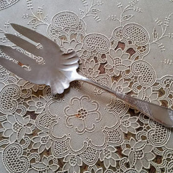Antique Silverplate Cold Meat Serving Fork Saratoga Angelo Pattern Bridgeport Silver Company A1