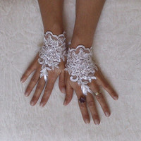 Wedding gloves adorned pearls Ivory  bride glove bridal gloves lace gloves fingerless gloves french lace gloves free ship