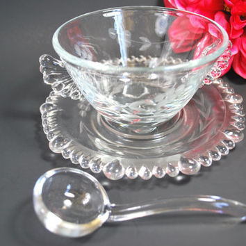 Vintage Anchor Hocking Bowl Plate Spoon in Cut Glass Wheat Pattern Etched Glass
