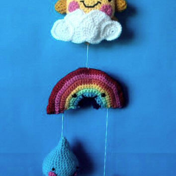 Baby Nursery Hanging Mobile - Sun, Rainbow, Clouds - Amigurumi Decoration