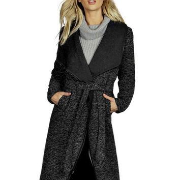 Black Lapel Long Sleeve Belted Wool Coat