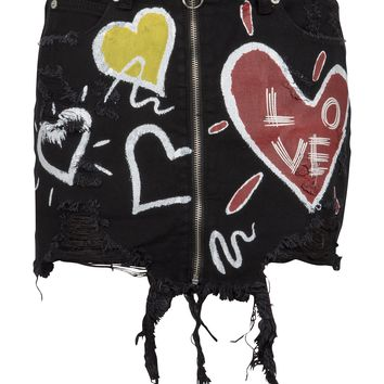 Distressed Black Denim Mini Skirt with Zipper and Love Graffiti Design