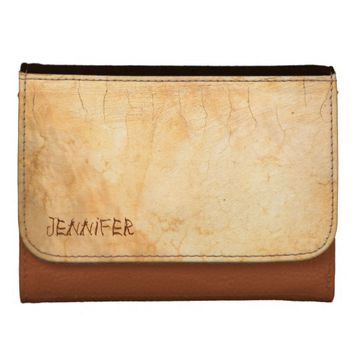 Personalized with a terracotta colored brick wall leather wallets