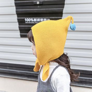 Hot Sale Colorful Ball Winter New Baby Hat Wool Hat Winter Hat Beanie Hat Hooded Scarf Earflap Knit Cap Toddler Cute for 1-5Yrs