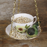 Hanging Bird Feeder Kit Vintage Teacup Yellow by BrambleBunny