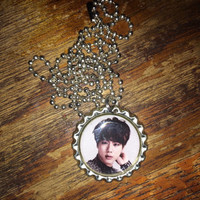 Jin BTS Kpop group face bottlecap necklace