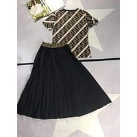 """FENDI"" Woman Leisure Fashion Letter Personality Printing Spell Color Crew Neck Stripe Short Sleeve Tops Pleated Skirt Two-Piece Set Casual Wear Sportswear"